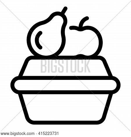 Fruits School Break Icon. Outline Fruits School Break Vector Icon For Web Design Isolated On White B