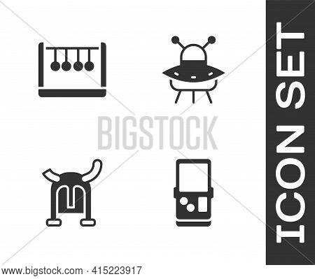 Set Tetris, Pendulum, Viking In Horned Helmet And Ufo Flying Spaceship Icon. Vector