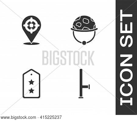 Set Police Rubber Baton, Target Sport, Military Rank And Helmet Icon. Vector