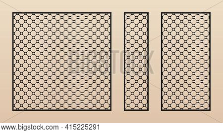 Laser Cut Panel Collection. Vector Template With Abstract Geometric Pattern In Oriental Style. Thin