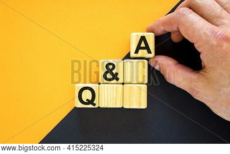 Questions And Answers Symbol. Concept Word 'q And A, Questions And Answers' On Cubes On A Beautiful