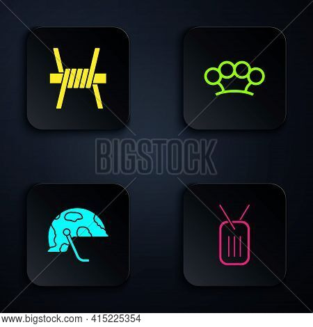 Set Military Dog Tag, Barbed Wire, Helmet And Brass Knuckles. Black Square Button. Vector