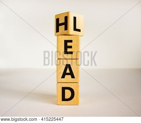 Head Lead Symbol. Turned The Cube And Changed The Word 'lead' To 'head'. Beautiful White Table, Whit