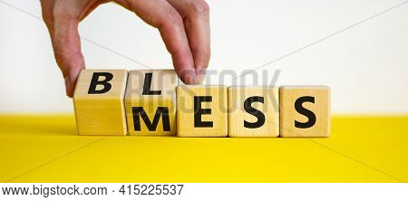 Bless Mess Symbol. Businessman Turns Cubes And Changes The Word 'mess' To 'bless'. Beautiful Yellow