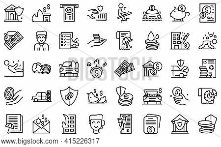 Compensation Icons Set. Outline Set Of Compensation Vector Icons For Web Design Isolated On White Ba