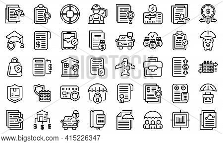 Liability Icons Set. Outline Set Of Liability Vector Icons For Web Design Isolated On White Backgrou