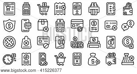 Payment Cancellation Icons Set. Outline Set Of Payment Cancellation Vector Icons For Web Design Isol
