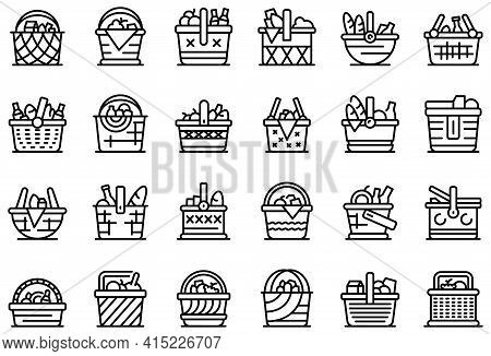Picnic Basket Icons Set. Outline Set Of Picnic Basket Vector Icons For Web Design Isolated On White