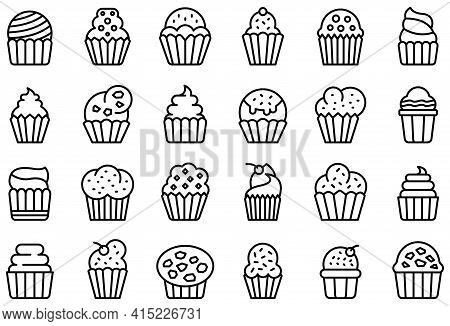 Muffin Icons Set. Outline Set Of Muffin Vector Icons For Web Design Isolated On White Background