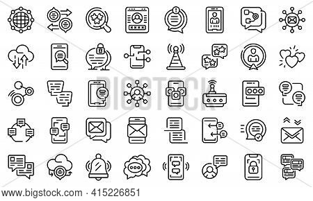 Messaging Network Icons Set. Outline Set Of Messaging Network Vector Icons For Web Design Isolated O