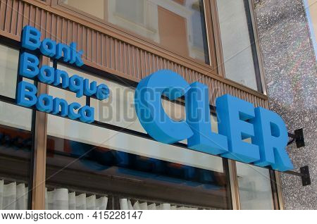 Locarno, Ticino, Switzerland - 20th March 2021 : Cler Bank (former Bank Coop) Sign Hanging In Front