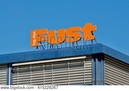 Giubiasco, Ticino, Switzerland - 20th March 2021 : Logo Sign Of Fust Appliance Store In Giubiasco. I