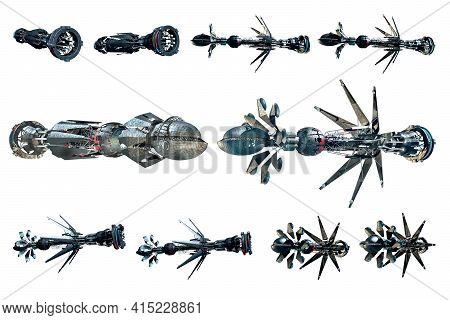 3d Rendering Collage Of Spaceship Instances, Isolated On White With The Clipping Path Included In Th