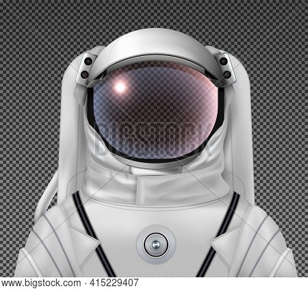 Astronaut Space Helmet Realistic Composition With Image Of Exposure Suit With Head Glass On Transpar