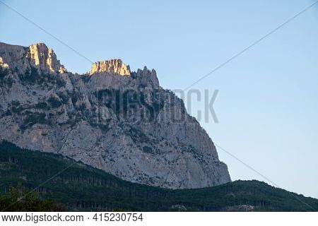 A Majestic View Of The Rocky Mountains Ranges In Clear Sunny Day. Clear Sky Over Crimea Mountains. L