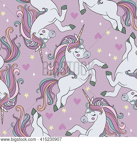 Seamless Pattern With Running Romantic Cute Unicorns On Purple Background. Vector Illustration For P