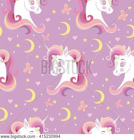 Seamless Pattern With Heads Of Unicorn, Butterflies And Moon On Pink Background. Vector Illustration