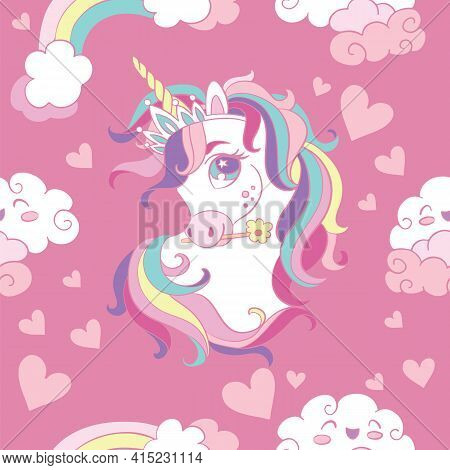 Seamless Pattern With Heads Of Unicorn, Clouds And Hearts On Pink Background. Vector Illustration Fo