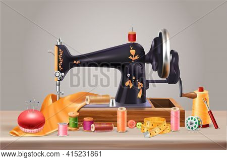 Sewing Machine Background With Needles Cushion And Centimeter Realistic Vector Illustration