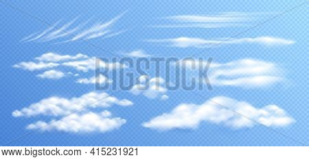 Clouds Realistic Set With Isolated Images Of Different Types Of Clouds On Clear Sky Transparent Back