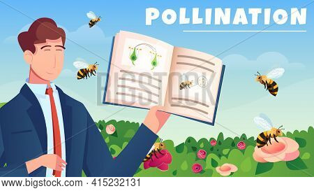 Botanical Flat Horizontal Composition With Male Character Demonstrated Manual For Study Of Flowers P