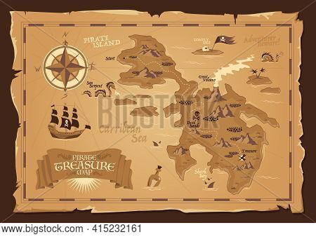 Detailed Map Of Pirate Treasure With Frayed Edges In Vintage Style Flat Vector Illustration