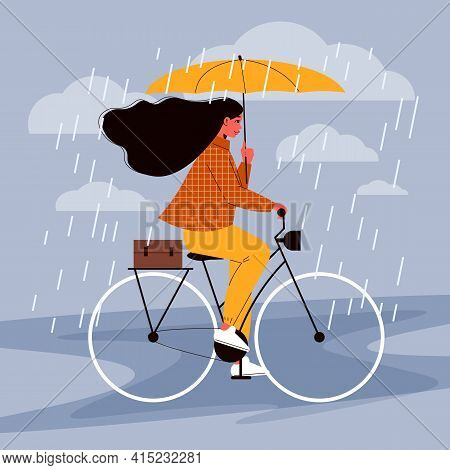 People With Umbrella Composition With Female Character Of Bicycle Rider Moving Under Rain Showers Ho