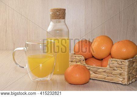 Tangerine Juice And Orange Tangerines Close Up