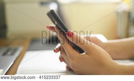 Woman Close Up Use Smartphone While Studying, Social Network Tech Addiction