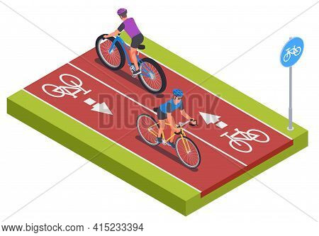 Cycling Sport Isometric Concept With Recreational Track Symbols Vector Illustration