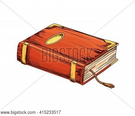 Old Book. Education And Wisdom Concept. Vector Icon For Education And Literature Theme Design. Vinta