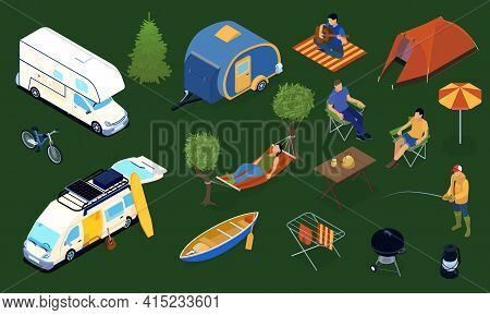 Trailer Park With Tent Boat Bike Furniture And Resting People 3d Icons Set Isolated On Green Backgro