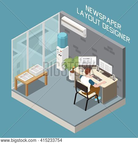 Male Layout Designer Working On Computer At Editorial Office With Printed Newspapers On Table Isomet