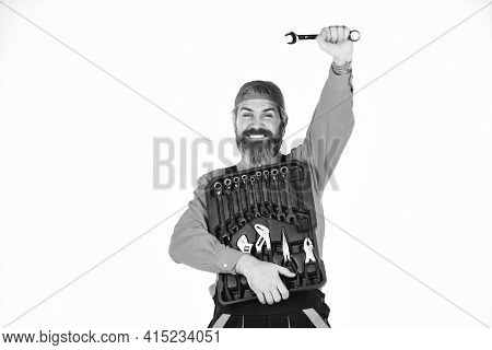 Man In Uniform Carries Toolbox White Background. Worker Repairer Repairman Handyman Carrying Toolbox