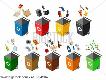 Garbage Cans For Sorting. Recycling Elements. Many Garbage Cans With Sorted Garbage. Colored Waste B