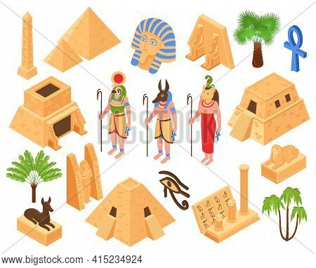 Ancient Egypt Culture Symbols Kings Valley Monuments Pyramids Temple Sphinx Gods Statues Palms Isome