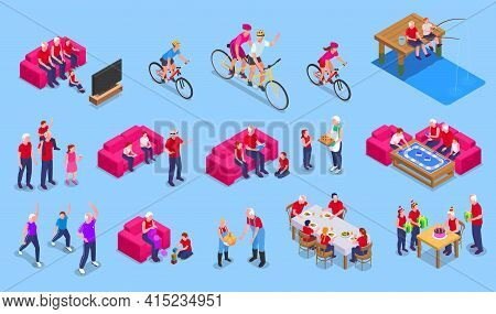 Grandparents And Grandchildren Isometric Set With Pastime Symbols Isolated Vector Illustration