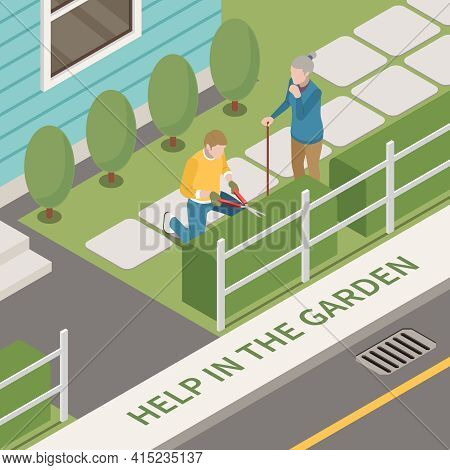 Elderly People Professional Social Help Service Isometric Composition With Outdoor Scenery And Man H