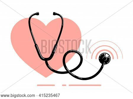 Stethoscope With Heart Vector Simple Icon Isolated Over White Background, Cardiology Theme Illustrat