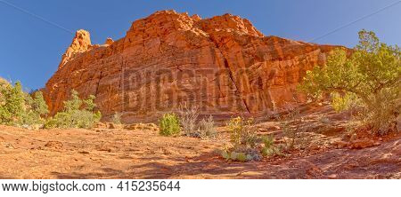 View Of The Summit Of Steamboat Rock In Sedona Arizona In The Coconino National Forest.