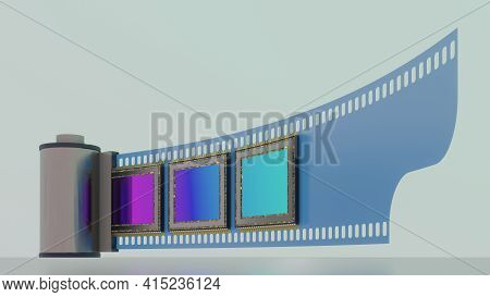 Concept Of Of Evolution In Photographic Technology, Film And Dital Camera Sensors, Low Viewpoint, 3d
