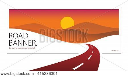 Country Road Curved Highway Vector Perfect Design Illustration. The Way To Nature Sunset, Hills And