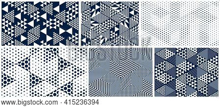 3D Dotted Cubes Seamless Patterns Vector Backgrounds Set, Dots Dimensional Blocks, Architecture And