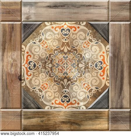 Digital Tiles Design. 3d Rendering Colorful Ceramic Wall And Floor Tiles Decoration. Abstract Damask