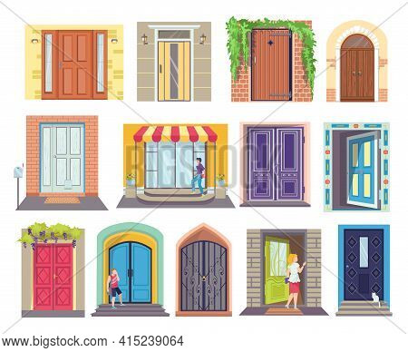 Cartoon Designs Entrance Doors Set, Vector Illustration. Stylish Wooden Doors In City Apartment. Ent