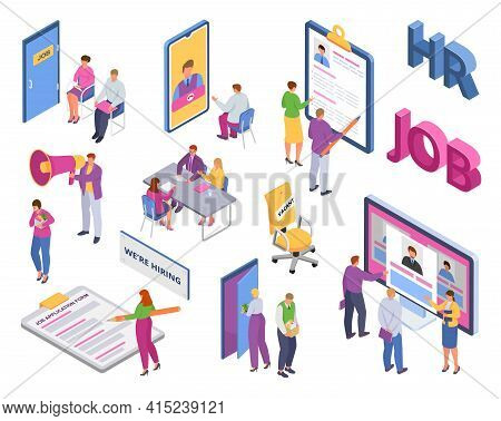 Set, Isometric Recruiting Vector Illustration. Management Professional Company, Employer Posts Vacan