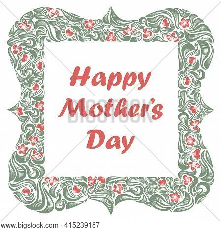 Mother Day Greeting Card With Beautiful Floral Frame Vector Vintage Elegant Classic Style Design.