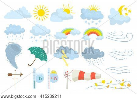 Weather Icon Set, Meteorology Rain Snow Sun Icon Vector Illustration. Storm Cloud Symbol, Climate, W