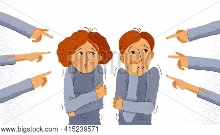 Shaming And Blaming Vector Concept, Hands Pointing Finger On Young Couple Feeling Uncomfortable And