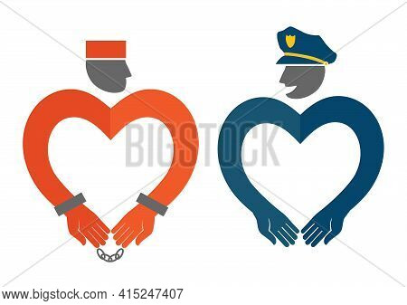 Cop And Prisoner Icons In The Form Of Hearts Humorous Illustration